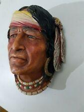 Retro Chalkware Wall Mask NAVAJO INDIAN - Made in England