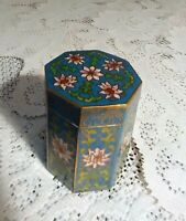 Rare Octagon Old Antique Vtg Chinese Cloisonne Enamel Brass Canister Jar Box