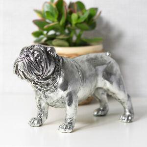 Vintage Silver British English Bulldog Ornament Statue Figurine Sculpture Gift