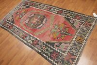"4'2""x 8' Vintage Hand Woven Southwestern Tribal Turkish Kilim 100% Wool Area Rug"