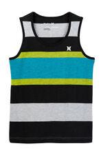 Hurley Big Boys Sleeveless M Tank Top T-Shirt Tee Black Blue Green Stripe NWT