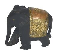 Elephant Figure Wooden Handmade Animal Statue Sculpture Table Decor Figurine