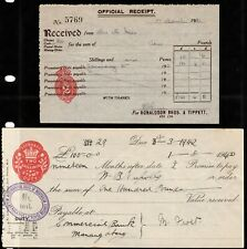 bank draft & receipt with 2/- & 2d embossed stamp duty revenues