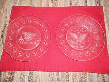 AVON BICENTENNIAL CLEAR GLASS COLLECTOR PLATE CANNON ( SET PAIR )
