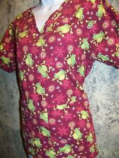 a187110f97f COTTONALITY cheerful frogs flowers v-neck scrubs top dental medical nurse  vet XS