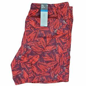 NWT Columbia Mens Swim Shorts Omni Shade Red Leaf Pattern Mesh Lining Size XL