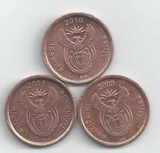 3 DIFFERENT 5 CENT COINS from SOUTH AFRICA (2009, 2010 & 2011)