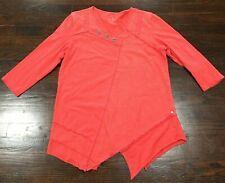Neon Buddha Women's Sz Large Pink Tunic Top 3/4 Sleeve Silver Buttons Hanky Hem