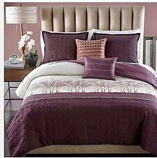6-Pc Parker Loft Dawson Comforter Set Embroidered Purple White Trees Woodland