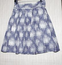 PURE Collection Cotton Silk Ivory Gray Blue Pleated Skirt Size: 4