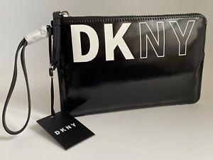 DKNY ZOE Wristlet Pouch Black With DKNY in White NWT