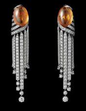 16ct Long Earring Solid 925 Sterling Silver Orange Oval Women Wedding Earring