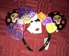 Disney Parks Halloween Coco Dia De Los Muertos Minnie Mouse Ears Headband Hat