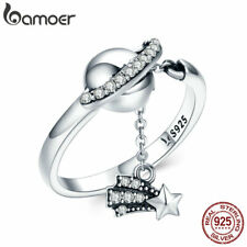 Bamoer Dazzling S925 Sterling Silver Open Ring & CZ Moon and star Women Jewelry