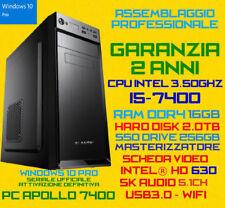 COMPUTER ASSEMBLATO PC DESKTOP INTEL Core i5-7400 RAM 16GB SSD256GB HDD2TB DVDRW