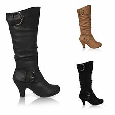 Women's 100% Leather Cuban Mid Heel (1.5-3 in.) Boots