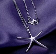 925 Sterling Silver Stamped Starfish Pendant And Chain Necklace With Gift Bag