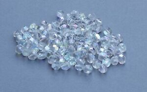 Vintage Loose Clear Glass Faceted Beads x 100, Approx 4 mm, Iridescent