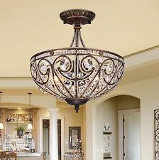 Modern Decor Crystal Dining Room Chandelier Flush Mount Ceiling Lighting Fixture