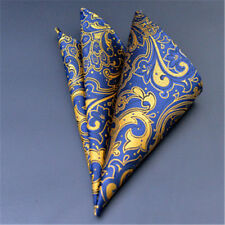 Mens Satin Solid Gold Floral Wedding Party Hanky Pocket Square Handkerchief NEW
