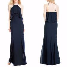 NEW #LEVKOFF Navy FLUTTER HALTER Ruffle POPOVER Chiffon BRIDEMAIDS A-Line GOWN 6