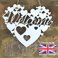 Welcome White Love wall hanging heart gift decoration wooden sign house warming