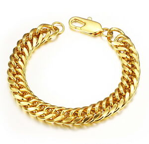 High Quality Mens Thick Copper 18K Gold-plated Cuban Curb Chain Bracelet 3 Sizes