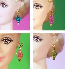 """Dreamz TEAL MAGENTA SALMON OLIVE 4 Pair EARRINGS LOT for Barbie 11"""" Doll Jewelry"""