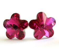 Fuschia made with Swarovski Crystal Flower Stud Earrings