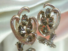 Pretty Vintage 1950 B.S.K. Rhinestone Earrings    774jl