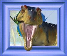 Adesivo inganna l'occhio Dinosauro cornice blu 105x87cm