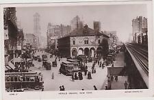 HERALD SQUARE TROLLIES & 6TH AVE ELEVATED TRAIN RPPC LOOKING NORTH FROM 34TH, NY