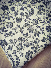 Noir Fleurs Lin Naturel-Tissu de coton. Prix Par 1/2 Mètre