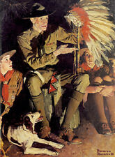 32ef59a7dc27c The Campfire Story 22x30 Ltd. Edition Boy Scout Art Print Norman Rockwell