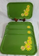 5 Vntg Green Metal Serving or Dinner Tray - Retro Yellow Daisy Floral Lap Tray