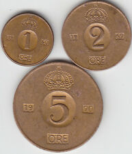 Sweden - 1, 2, 5 Ore Coin Set - Old Type - Various Years