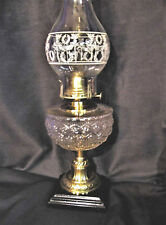 1888 B&H Sewing Lamp-Snowflake Font- Solid Brass Stem w Wreath & Torch Chimney