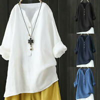 Womens Casual Plue Size Stand Collar Long Sleeve Shirt Loose Blouse Button Tops