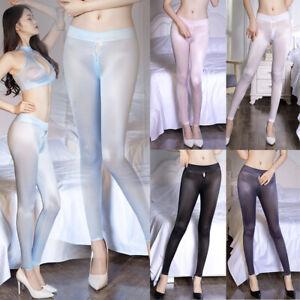 Frauen Reißverschluss Open Crotch Durchsichtige Legg Transparente Seidig Hosen