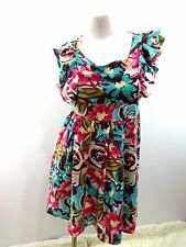 ALFIE ROSE WOMENS MULTI-COLOR FLORAL RAYON RUFFLED MINI DRESS SIZE S