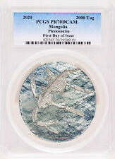2020 Mongolia 2000 Togrog Plesiosauria 3oz .999 Silver Proof Coin PCGS PR70 FDI