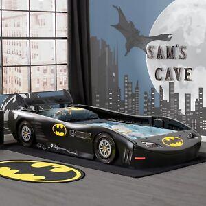 Kids Batman Batmobile Twin Bed Child Car Wheels Guardrails Spoiler Furniture New