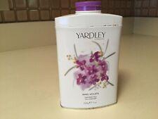 April Violets by Yardley of London Perfumed Talc 7.0 oz Tin Nearly Full