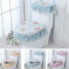 Bathroom Lace Toilet Seat Cover Closestool Pad Tank Lid Cloth Floral Set 3PC