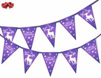 Merry Christmas reindeer purple snowflake Bunting Banner 15 flags by PARTY DECOR