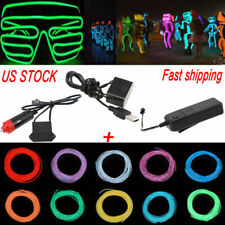 1m-5m Neon Glow EL Wire LED String Strip Rope Light Dance Party Decor Controller