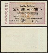 GERMANY 10 Million Mark 1923 P-S1014 AUNC Almost Uncirculated