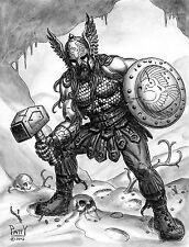 SEAN PATTY original art, THOR, God of Thunder, Hammer, shield, 8.5x11, 2012