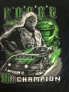 NHRA John Force Racing 16X CHAMPION Black 2 Sided T-Shirt NWT $25 MEDIUM