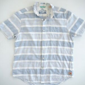 TOMMY BAHAMA Mens RELAXED Shirt  Size L Short Sleeve Cotton Linen Blend Blue EUC